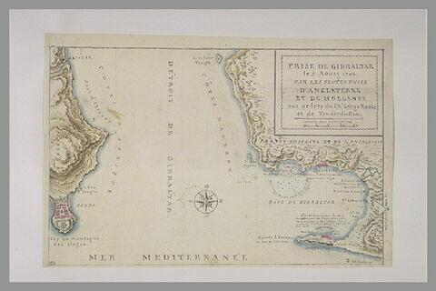 Carte du détroit de Gibraltar pour la prise de cette forteresse en 1704