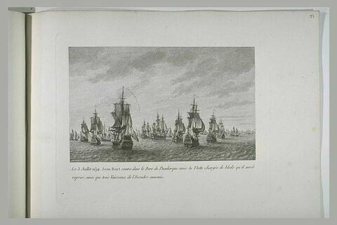 Jean Bart rentre à Dunkerque avec la flotte de grains et trois vaisseaux