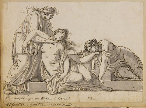 Vieille femme penchée sur deux femmes évanouies