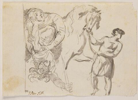 Ecuyer conduisant un cheval, et combat de deux guerriers
