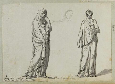 Deux figures de femmes debout et drapées à l'antique