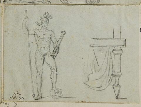 Guerrier tenant une lance, et coin de table