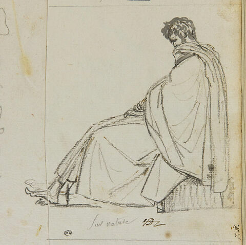 Un homme drapé d'un grand manteau assis, vu de profil