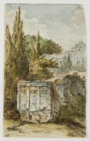 Ruines romaines entourées d'arbres