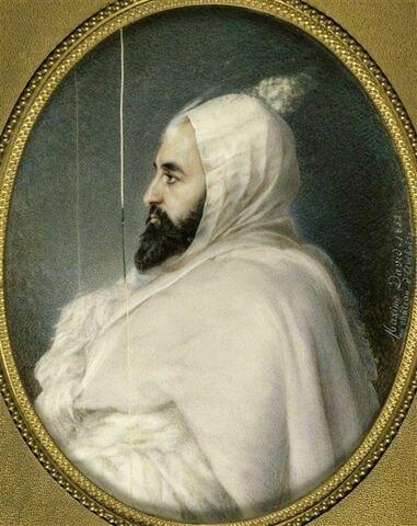 Portrait d'Abd-el-Kader, de profil : 'Avant le combat'