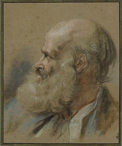 Tête de vieillard chauve avec une longue barbe, la bouche ouverte, de profil.