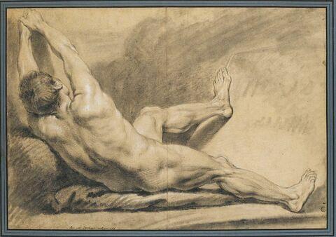 Homme nu, à demi-allongé, vu de dos, semblant tirer un objet à lui