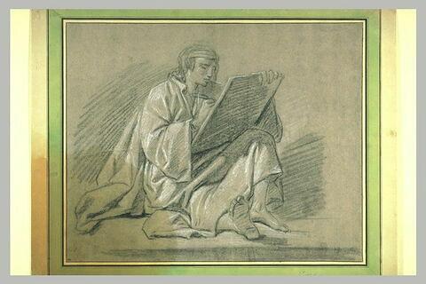 Homme drapé, assis à terre, écrivant sur une tablette