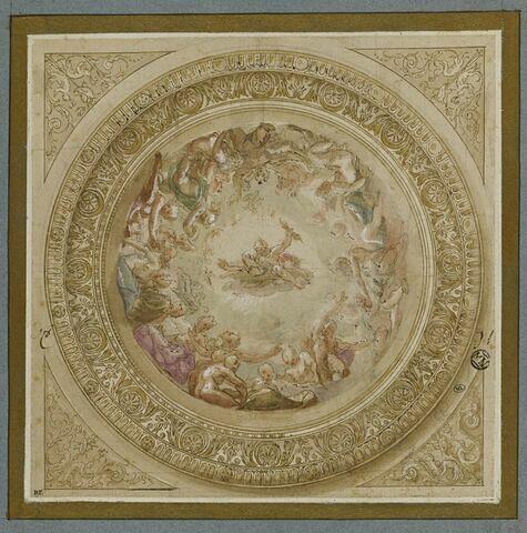 Projet de plafond avec l'assemblée des dieux autour de Jupiter tenant le foudre dans un compartiment circulaire