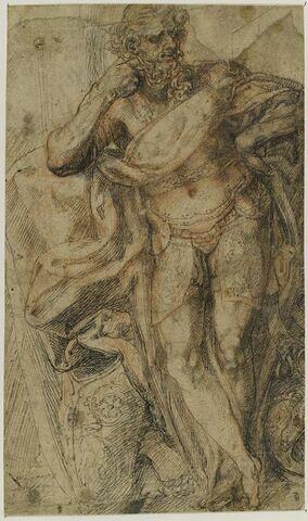 Un guerrier armé à l'antique, appuyé sur le bras droit, debout auprès du plastron de son armure et de son armet,