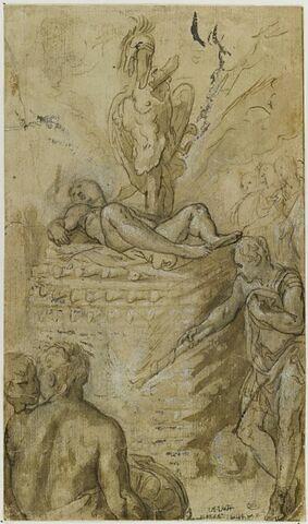 Francus enflamme le bûcher funéraire d'un de ses compagnons