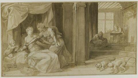 Climène, dissuadée par sa nourrice de s'empoisonner, écrit à Francus