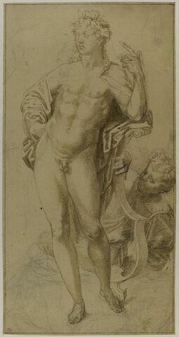 Apollon nu, debout, accoudé sur une lyre et une autre figure