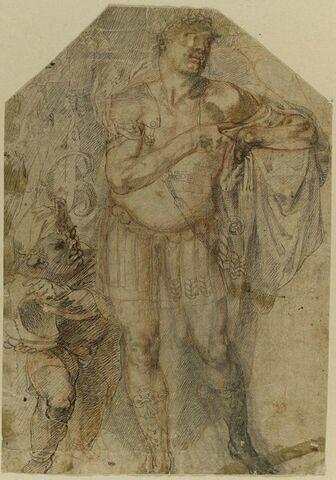 Empereur romain servi par un nain