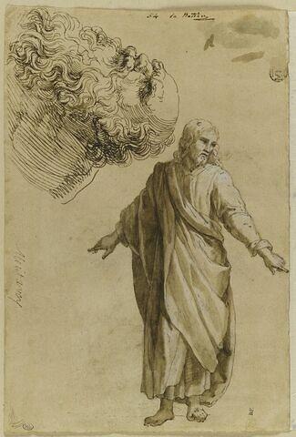 Le Christ debout ; tête d'un vieil homme barbu