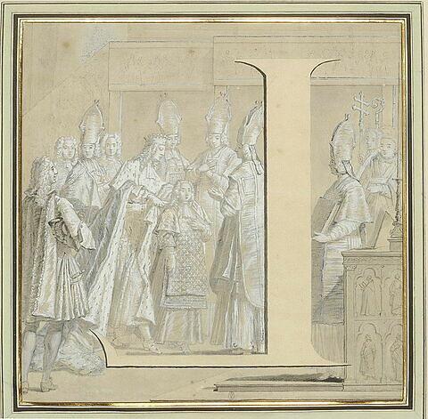 La lettre L, inversée, devant Louis XV recevant le manteau royal