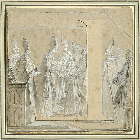 La lettre L, inversée, dans la scène de Louis XV recevant le sceptre royal