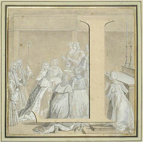 La lettre L, inversée, dans la scène de la Communion de Louis XV