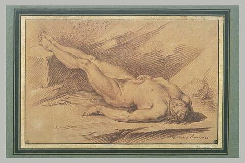 Homme nu, renversé sur le dos, les pieds sur une pierre