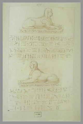 Deux figures de Sphinx avec des inscriptions en hiéroglyphes