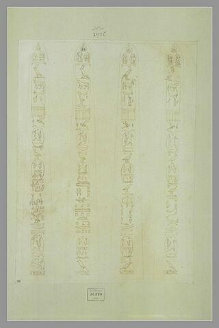 Les quatre faces d'un obélisque couvert de hiéroglyphes