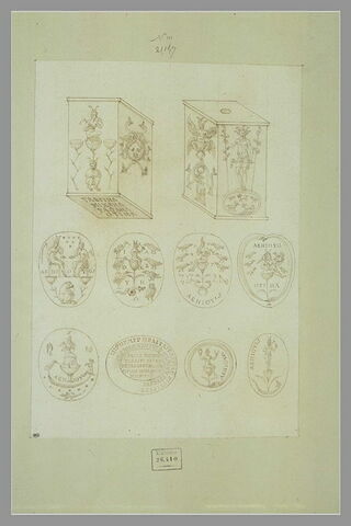 Dix objets ou médaillons symboliques et caractères grecs, d'après l'antique
