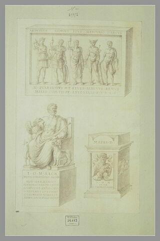 Un bas-relief ; deux monuments dédiés à Jupiter