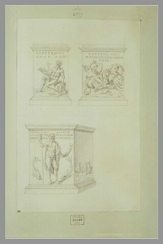 Trois vues de deux monuments votifs dédiés à Neptune