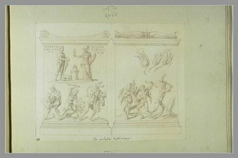 Deux faces d'un monument votif dédié à Hercule