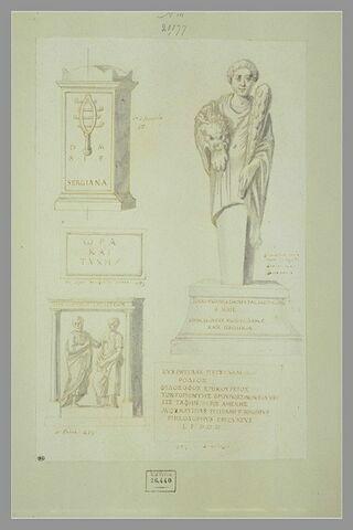 Deux monuments funéraires, un Hercule et deux inscriptions en grec