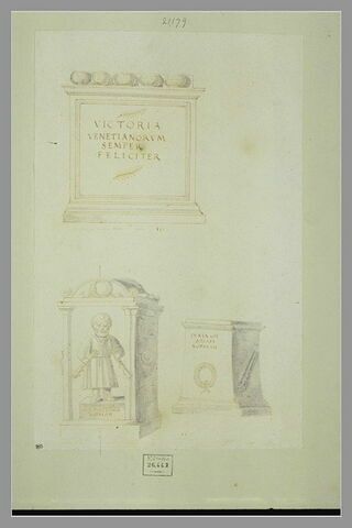Trois monuments funéraires avec des inscriptions grecques ou latine