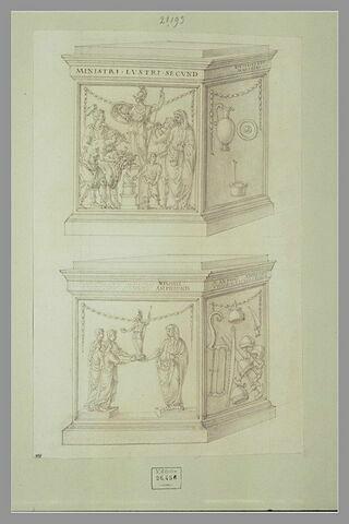Deux monuments votifs avec des bas-reliefs