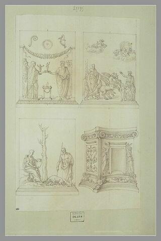 Trois bas-reliefs et un autel orné de bas-reliefs