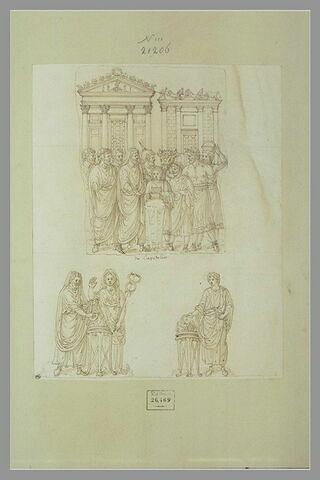 Un fragment de bas-relief et trois personnages romains
