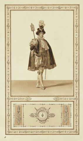 Sacre de Charles X : huissier portant la massse