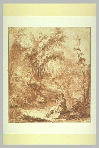 Intérieur d'un parc avec une femme tenant une quenouille, vue de dos