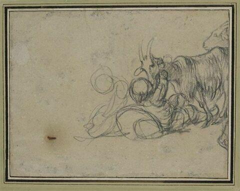 Enfants jouant avec deux chèvres