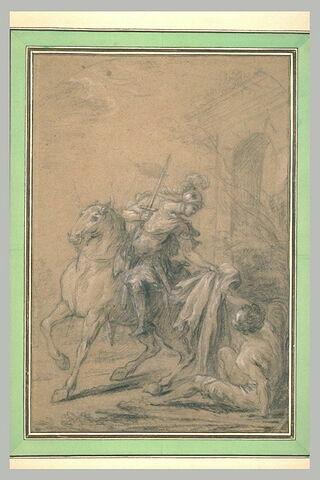 Saint Martin à cheval partageant son manteau