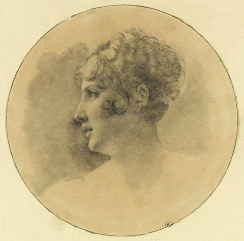 Profil de Caroline Murat tourné vers la gauche