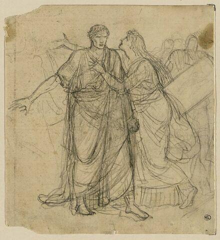 Femme aux cheveux défaits implorant un empereur romain