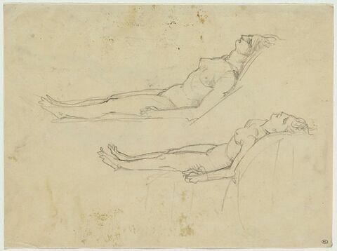 Deux femmes étendues, le corps un peu soulevé et tourné vers la gauche