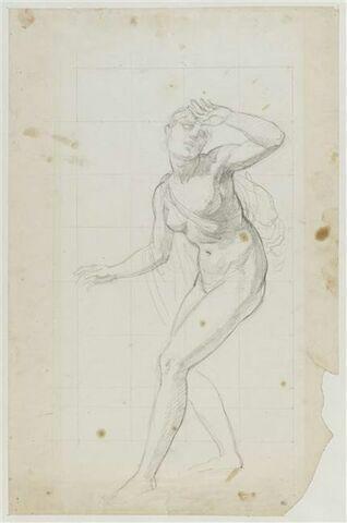 Une femme nue dans l'attitude de la crainte