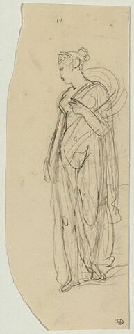Une femme drapée à l'antique la tête de profil et la main sur la poitrine
