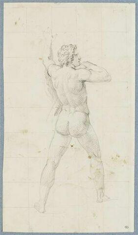 Homme nu, de dos, marchant, vers la droite, le bras gauche levé