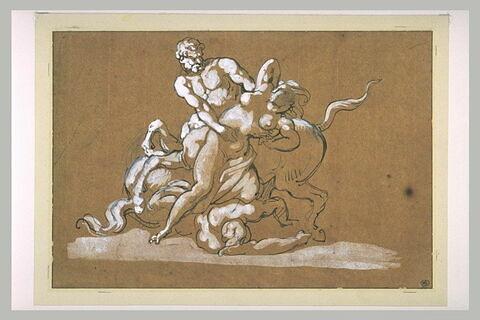 Un centaure enlevant une nymphe devant un autre centaure à terre