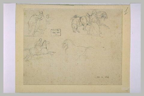 Quatre croquis dont deux de cavaliers turcs