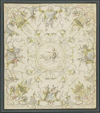 Arabesque pour un plafond : au centre, Apollon est assis sur des nuages