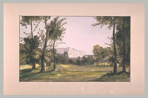Le château de Versailles, vu depuis la route de Trianon, 1837