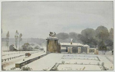 Entrée du Parc de Versailles du côté de l'Orangerie, effet de neige, 1840