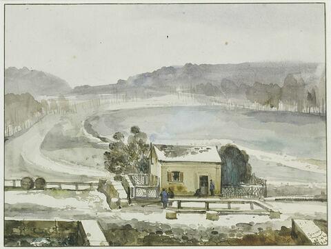 Pièce d'eau des Suisses, à Versailles effet de neige, 1843
